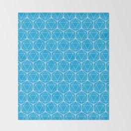Icosahedron Pattern Bright Blue Throw Blanket