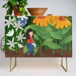 Drawing in he garden Credenza