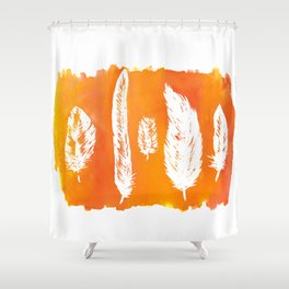 Ink & Feathers orange Shower Curtain