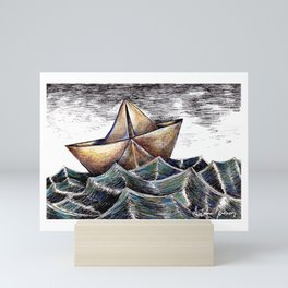 """She dreams of the ocean late at night, and longs for the wild salty air."" Mini Art Print"