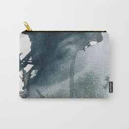 Lakeside: a minimal, abstract, watercolor and ink piece in shades of blue and green Carry-All Pouch