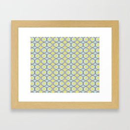 abstract geometry retro style floral pattern with yellow flowers on a light blue background Framed Art Print