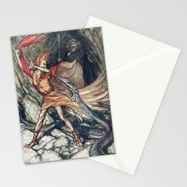Arthur Rackham - Wagner's The Rhinegold & the Valkyries (1910) - Horrible dragon, Swallow me not! Stationery Cards