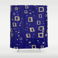 klimt Shower Curtains featuring Blue- Klimt inspired by Angela Capacchione