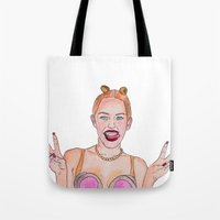 miley cyrus Tote Bags featuring Miley Cyrus by EvdokiasArt