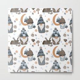 Woodland Moon Stars Gnome Gray  Metal Print