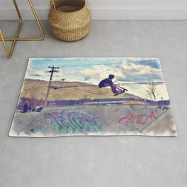 Graffitti Glide Stunt Scooter Sports Artwork Rug