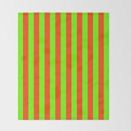 Super Bright Neon Orange and Green Vertical Beach Hut Stripes Throw Blanket