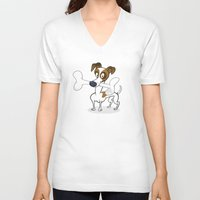 jack russell V-neck T-shirts featuring Jack Russell by Studio Drawgood