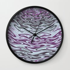 Ripples Fractal in Muted Plums Wall Clock