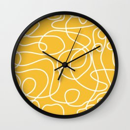 Doodle Line Art | White Lines on Mustard Yellow Wall Clock