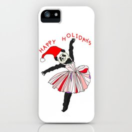 Happy Holidays Secret Santa Panda Ballerina iPhone Case