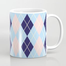 Schoolgirl Blue And Pink Argyle Coffee Mug