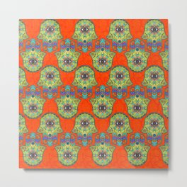 Colorful  Hamsa Hand pattern with paisley Metal Print