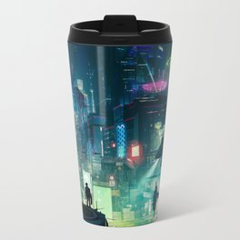 Cyberpunk City Metal Travel Mug