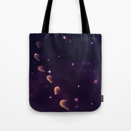 Cosmos Hart of Harts Half Yellow-Orange and Purple Tote Bag
