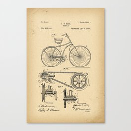 1890 Patent Bicycle Canvas Print