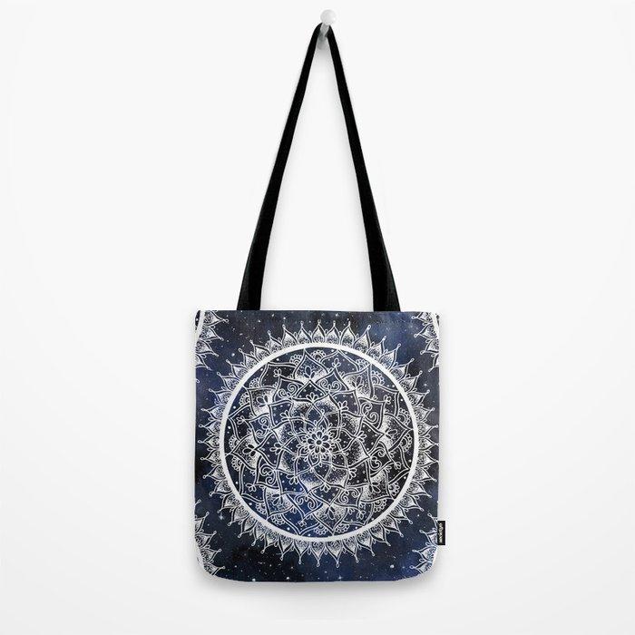 White Nebula Mandala Tote Bag