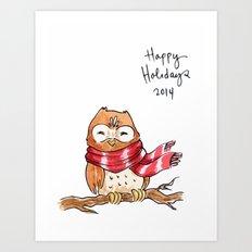 Holiday Card - Happy Hoot Art Print