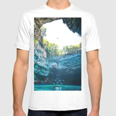 Sea Cave in Greece MEDIUM White Mens Fitted Tee