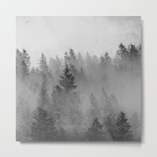 Black and White Forest Abstract Metal Print