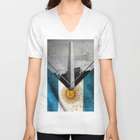argentina V-neck T-shirts featuring Flags - Argentina by Ale Ibanez