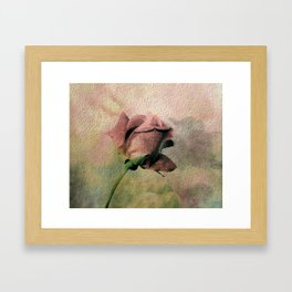 Painterly Pink Rose Bud Framed Art Print