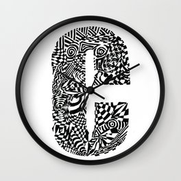 Alphabet Letter C Impact Bold Abstract Pattern (ink drawing) Wall Clock
