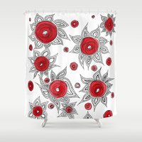 sunflowers Shower Curtains featuring Sunflowers by Gosia&Helena