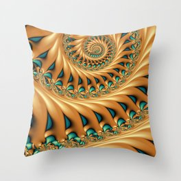 Fractal Splendor, Modern 3D Art Throw Pillow
