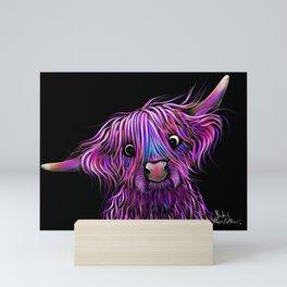 HiGHLaND CoW PRiNT SCoTTiSH ' HuCKLeBeRRY ' BY SHiRLeY MacARTHuR Mini Art Print