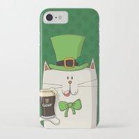 irish iPhone & iPod Cases featuring Saint Patric's cat, Cat cartoon characters, Irish Cat cartoon, ZWD004 by ZeeWillDraw