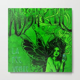 Vintage Parisian Green Fairy Absinthe Advertisement Poster Metal Print