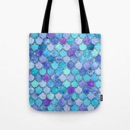 Colorful Blues Mermaid Scales Tote Bag