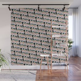 'Bonjour' Trendy Rainbow Text Pattern (Black) Wall Mural