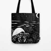 crab Tote Bags featuring Crab by Megan Spencer