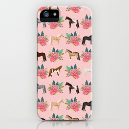Horse Floral - florals, pink, flower, florals, bloom, horses, cowgirl, bedding, decor, cute iPhone Case