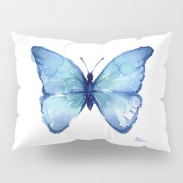 Blue Butterfly Watercolor Pillow Sham