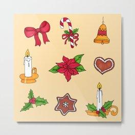 Christmas pattern (#2 yellow) Metal Print