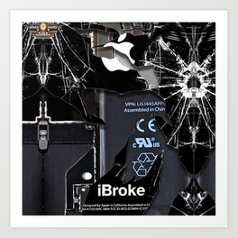 Broken Damaged Cracked out handphone iPhone Art Print