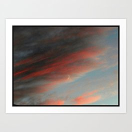 Moon and Sunset Art Print