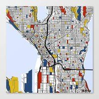 seattle Canvas Prints featuring Seattle by Mondrian Maps
