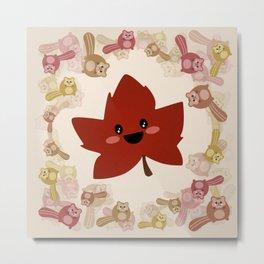 Happy Autumn leaf and the crazy chipmunk hurricane. Metal Print