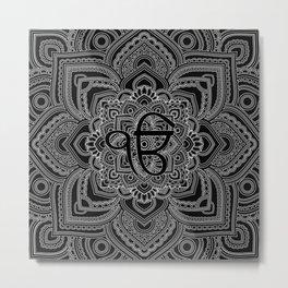 Black and white Ek Onkar / Ik Onkar  in mandala Metal Print