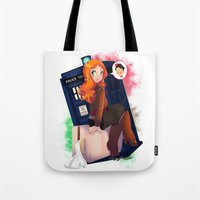 amy pond Tote Bags featuring Doctor Who - Amy Pond by Lucy Fidelis