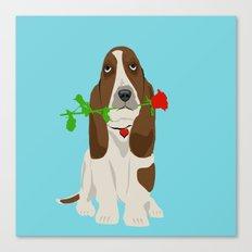 Basset Hound Dog in Love Canvas Print