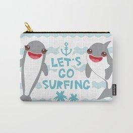 Lets go surfing. Cartoon kawaii dolphin Carry-All Pouch