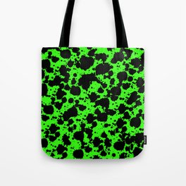 Bright Green and Black Leopard Style Paint Splash Funny Pattern Tote Bag