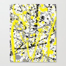 Yellow Grey and Black Ink Splatter on White Canvas Print