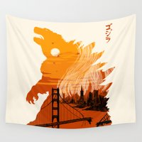 godzilla Wall Tapestries featuring Godzilla  by tim weakland
